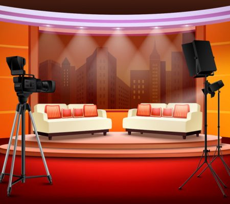 54759015 - talk show studio interior with comfortable sofas on pedestal filming equipment urban view in background vector illustration